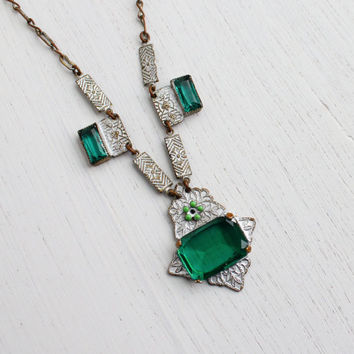 Antique Art Deco Emerald Green Glass Necklace - Vintage Brass 1920s 1930s Paperclip Link Jewelry / Silver Enamel with Flower Center