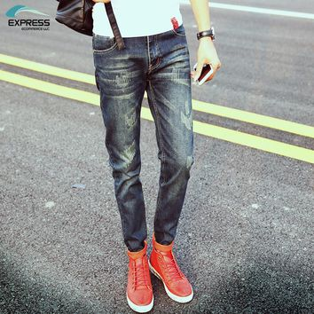 2018 Hot Sale Sale Zipper Fly Midweight Solid Men Jeans Slim Good Elasticity Casual Wear Man Pants Straight Long Trousers Denim