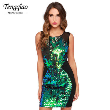 Sleeveless Black Sequin Dress Elegant Mini Bodycon Dress Patchwork Green Short Mini Graduation Party Dresses SM6