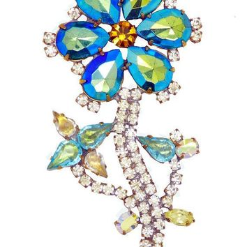 Czech Glass Blue Rhinestone Flower Brooch, Bijoux MG