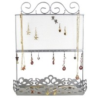 Metal Screen and Tray Jewelry Holder Silver