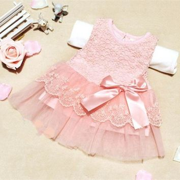 Baby Girls Summer Dresses Children Clothing Cotton Kids Bow Lace Ball Gown Princess Dress Clothes