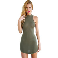 Womens Olive Green Stripped Hatler Bodycon Dress Mini