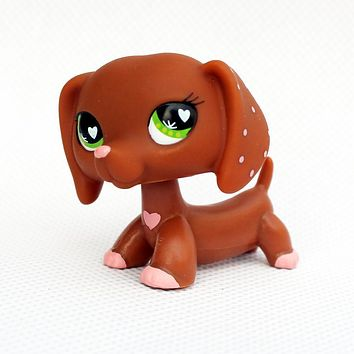 Rare Animal pet shop DACHSHUND #556 cute little brown pink heart sausage dog lps toy for kids Christmas present