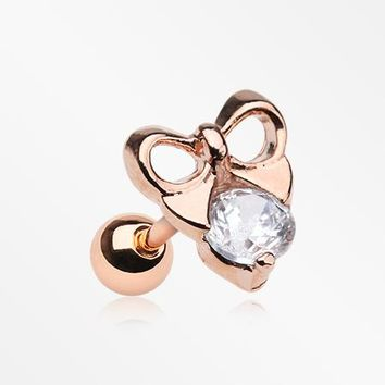 Rose Gold Adorable Bow-Tie Sparkle Cartilage Tragus Barbell