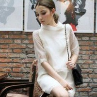Romantic White Gauze Layer Chiffon Half Sleeves One Piece Dress