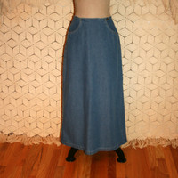 90s Denim Skirt Vintage Denim Maxi Skirt Long Denim Skirt Women Skirts Small Vintage Liz Claiborne Size 4 Skirt S Small Womens Clothing