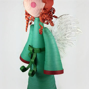 Angel Tree Topper, Custom Angel Christmas Tree Topper - custom Christmas angel ornament, custom tree topper angel, paper quilling angel full