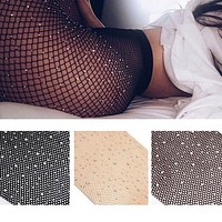 【Trulym】Women Fishnet Tights Net Crystal Diamond Bling Hosiery Body Stocking Pantyhose fishnet