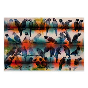 Parvez Taj Chatty Birds 60-Inch X 40-Inch Canvas Wall Art