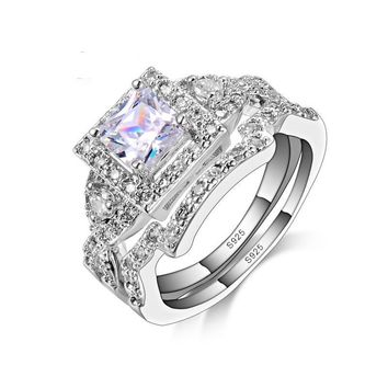 Crystal 925 Sterling Silver Engagement Ring