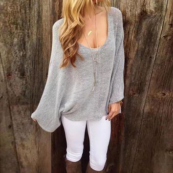 Loose Summer Round Neck Bat Sleeves Casual Top.