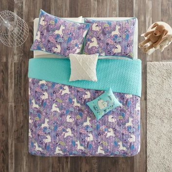 Twin/Twin XL 100% Cotton Kids Teal Purple Unicorn Quilt Coverlet Bedspread Set