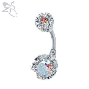Double Side Navel Belly Button Ring Surgical Steel Bright Crystal Gem Ball Piercing Nombril Bar Round Navel Rings Sexy Jewellery