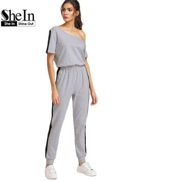 SheIn Jumpsuits and Rompers for Women Heather Grey Asymmetric Off The Shoulder Contrast Panel Color Block Jumpsuit