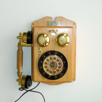 Vintage Spirit of St Louis Phone, Oak Wood Veneer Replica Wall Mount Telephone, Rotary Button Phone, Bells, Charles Lindbergh Collectible
