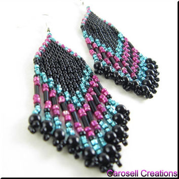 Native American Style Seed Bead Earrings Beadwork in Alternating Colors