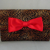 Leopard Print Wallet or Mini Clutch with Silk Red Interior and Silk Red Bow