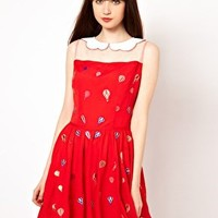 Nishe Dress with Balloon Embroidered Collar at asos.com