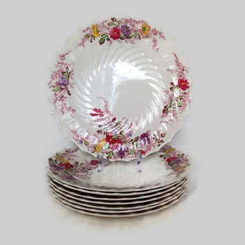 Antique Spode China-Dinner Plates-Set of 8-Ferry Dell Pattern-Made in England-Multicolor Floral Sprays-Swirl Rim-Replacement China