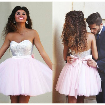 Elegant 2016 Homecoming Dresses A-line Sweetheart Short Mini Pink Tulle Squins Bow Cocktail Dresses