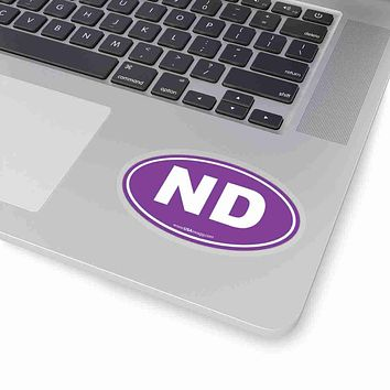 North Dakota NE Euro Oval Sticker PURPLE