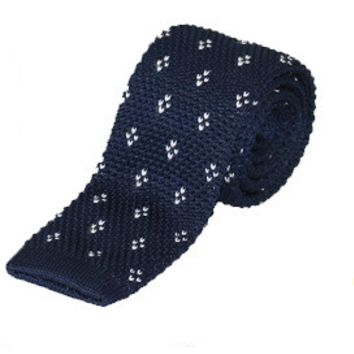 Blue Knit Tie with White Diamond Dots