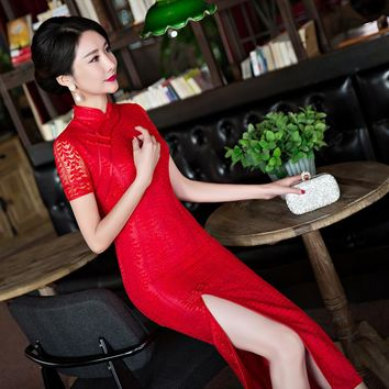 Free shipping 2017 fashion bride evening dresses wedding dress sexy red cheongsam chinese traditional dress