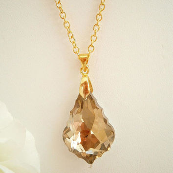 Light Brown Crystal Necklace - Layering Necklace - Brown Jewelry - Gift for her - Baroque Crystal - Unique Jewelry - Gold Plated Chain