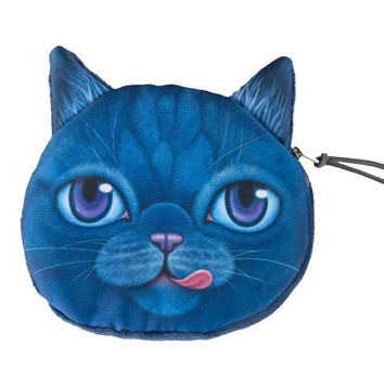 Navy Stick Out Tongue Cat Face Coin Purse