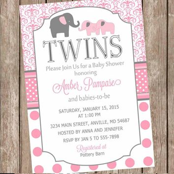 Polka Dot Twin Girl Baby Shower Invitation, twin girl, elephants, twins, pink, gray, baby shower invitation, polka dots, baby girl invite