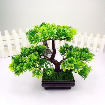 1pc Welcoming Pine Emulate Bonsai Simulation Decorative Artificial Flowers Fake Green Pot Plants Ornaments Home Decor