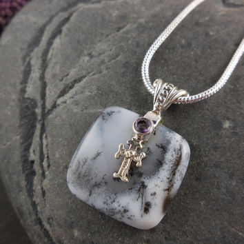 Dendritic Opal & Amethyst Gemstone Sterling Silver Cross Necklace