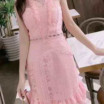 Pink Ruffle Trim Lace Overlay Mini Dress