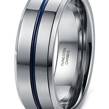8mm Tungsten Carbide Wedding Band Engagement Groove Blue Line High Polish (Platinum)