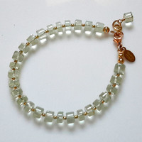 Green Amethyst Gemstone Bracelet with Gold Lobster Clasp