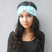 Blue and White Chevron Striped Turban Headband  Hippie Headband Ear Warmer Hair Accessories