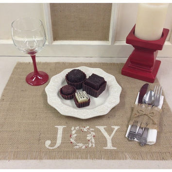 Burlap Placemats - set of 4, 6, or 8 with Joy and a wreath design