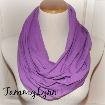 Purple Magenta Solid Cotton Spandex Infinity Scarf Jersey Knit Scarf Women's Accessories