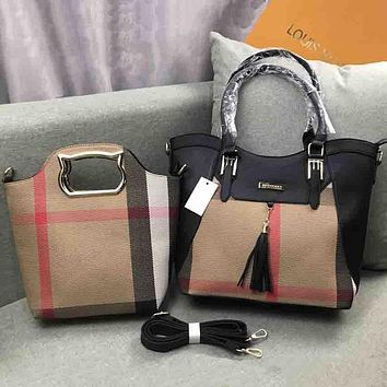 Burberry Women Fashion Leather Satchel Shoulder Bag Handbag