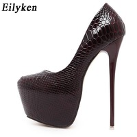 Eilyken New Snakeskin Pumps 16 CM high With Club high heels Sexy high-heeled shoes Round Toe Women Pumps Big size 40