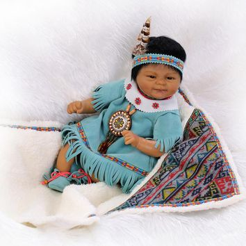 New Arrival Indians Black Silicone Reborn Baby Doll Toys Newbabies Reborn Doll High-end Child Christmas Brithday New Year Gifts