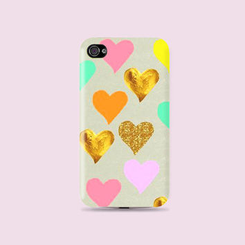 Girly Colorful & Gold hearts Plastic Hard Case - iphone 5 - iphone 4 - iphone 4s - Samsung S3 - Samsung S4 - Samsung Note 2
