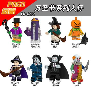 Single Sale PG8171 Halloween Ghost Festival Scarecrow Wedding ghosts Pumpkin Vampire Witch Zombie Toy doll for children Building