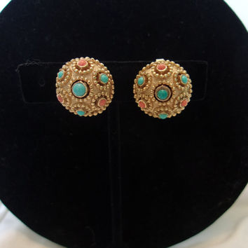 Crown Trifari Jewels of India Earrings Coral Turquoise Cabochon Gold Plate Button Clip On