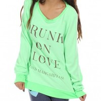 Neon Green Drunk On Love Jumper by Wildfox - ShopKitson.com