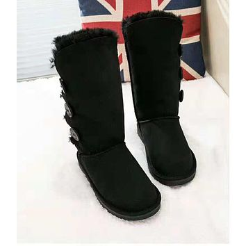 UGG: Classic Fashionable Women Three Buttons Leather Warm Wool Boots In Tube Black