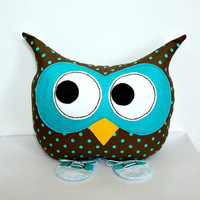 Owl Pillow Stuffed Plush Toy Animal Decorative Kids Bed Owl Throw Pillow Sneakers Brown and Turquoise Polka Dot For Boy or Girl
