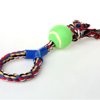 Cotton Braided Rope Dog Training Toy with Ball