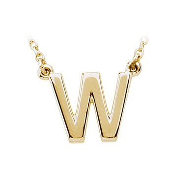 Block initial Necklace in 14k Yellow Gold, Letter W